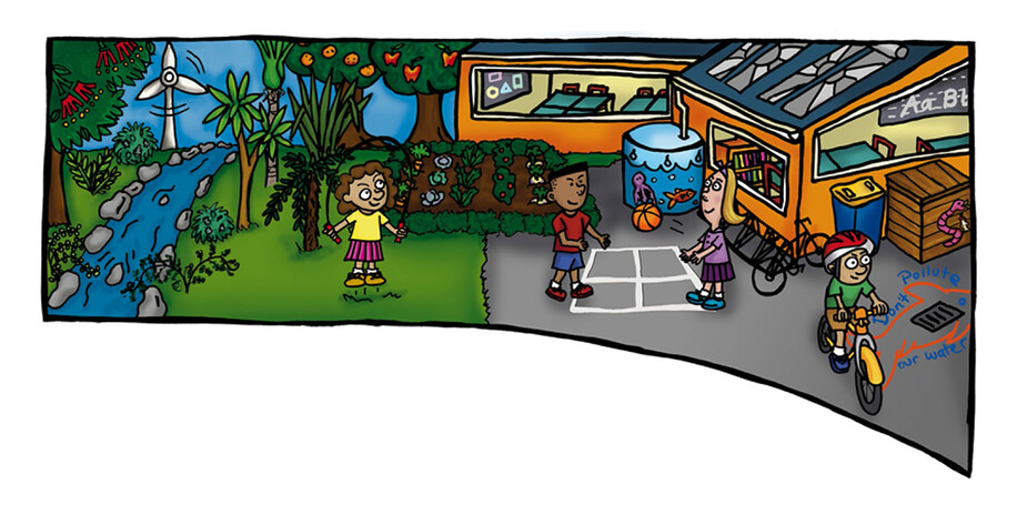 AUCKLAND CITY COUNCIL - WASTEWISE SCHOOLS NEWSLETTER ILLUSTRATION